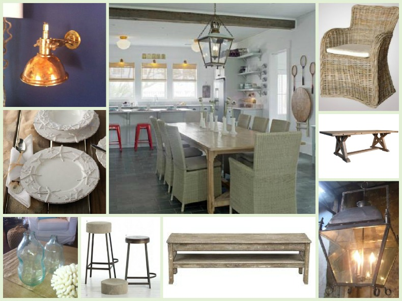 Coastal dining and kitchen with rattan chairs and ship lighting