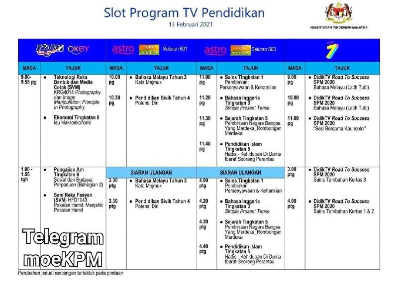 Jadual Slot Program TV Pendidikan 13 Februari 2021