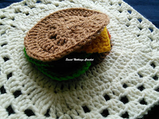free crochet pattern, free crochet mitered granny square pattern, free crochet play food pattern, free crochet burger bun pattern, Oswal Cashmilon, Pradhan stores, Project Chemo Crochet,