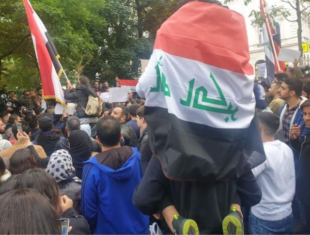 عراقيو,النمسا,يتظاهرون ,أمام,سفارة,بلدهم