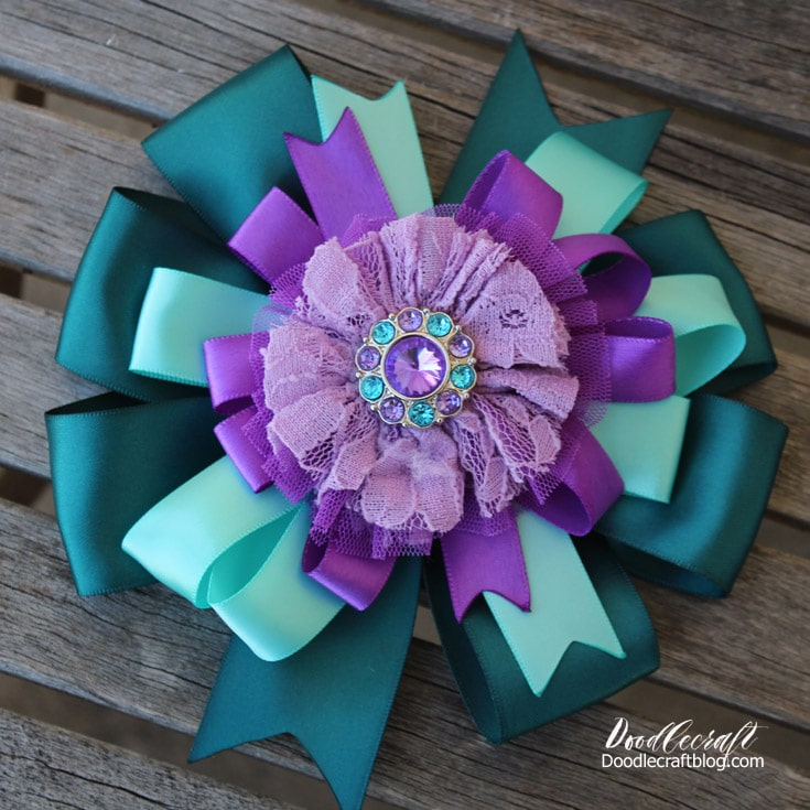 layered hair bow inspired by Ariel from the little mermaid in teals and purples