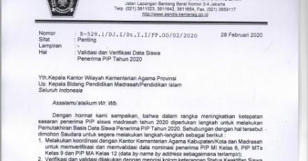 Surat Edaran Validasi Dan Verifikasi Data Siswa Penerima