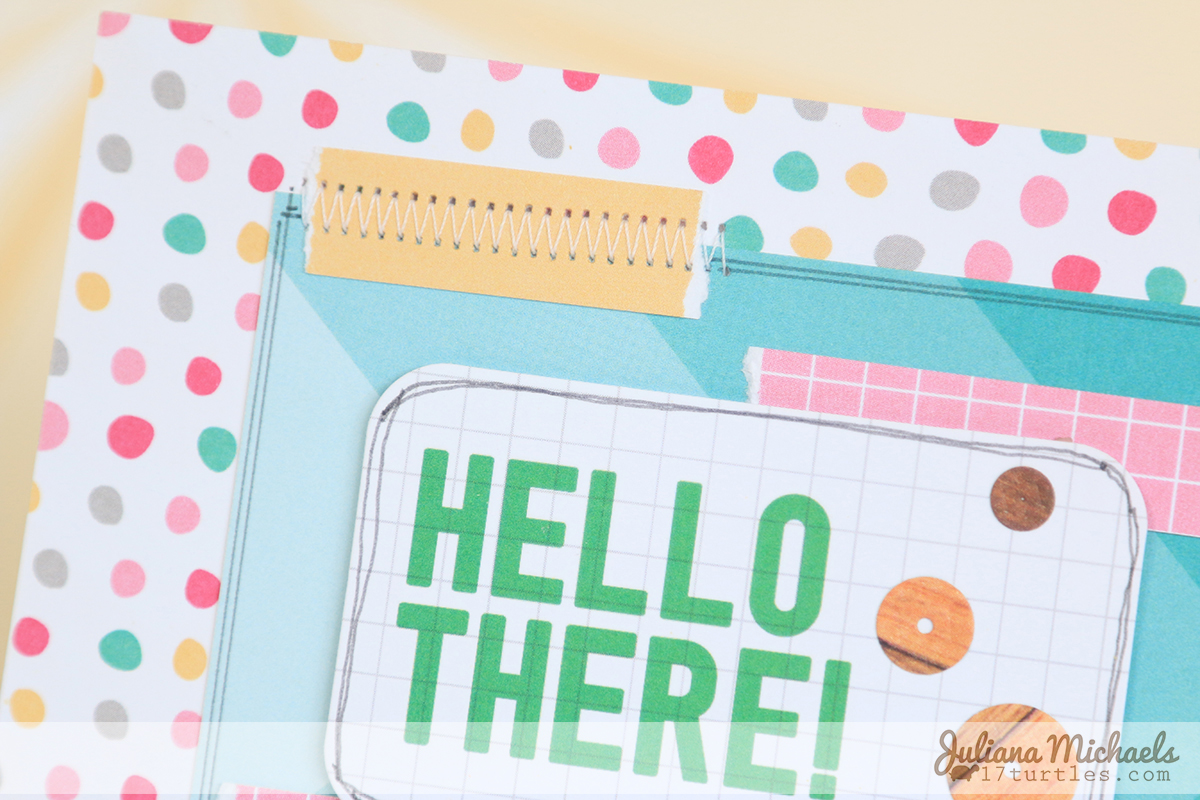 Hello There Card by Juliana Michaels using Elle's Studio and MFT Stamps Die - Wood Grain Sequins