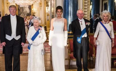 First woman melania trump wears custom dior for state supper at buckingham castle