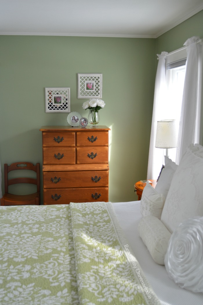 Green and White Country Cottage Bedroom