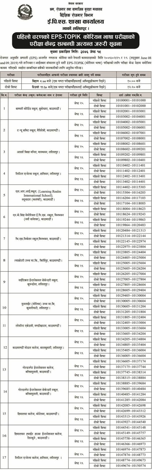EPS TOPIK Examination Centers Notice 2019 - 1
