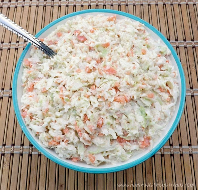 Home Sweet Homestead: Classic Coleslaw - A little sweet, a little tangy, cool and crunchy Classic Coleslaw is the perfect side dish for all your BBQs and cookouts this summer.