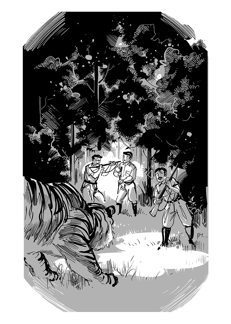 story book illustration men hunting tiger