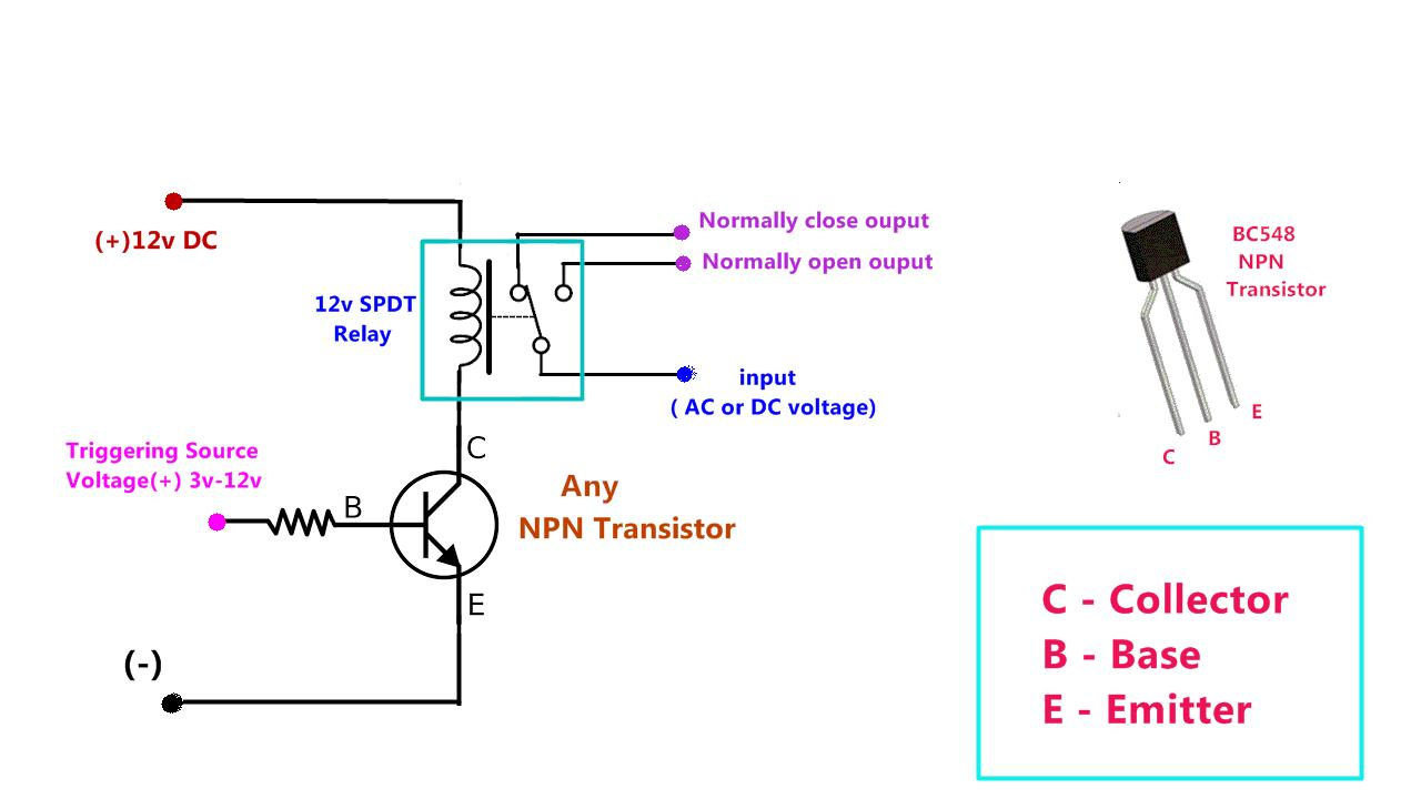 Power Gen Circuit Diagram List Part 2 Transistor Relay Driver Schematic Npn Based Dc Drive Make Triggering Source Voltage Method 1