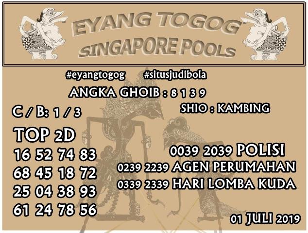 PREDIKSI TOGEL SINGAPORE 1 JULI 2019