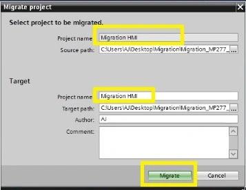 project migrate in tia portal