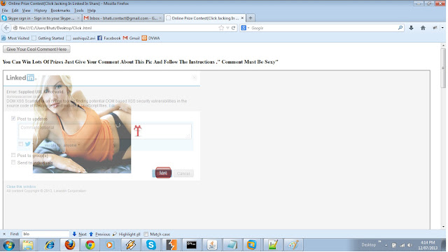 LinkedIn Clickjacking vulnerability tricks users to spam links