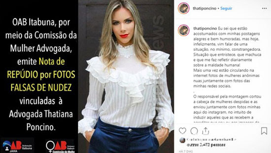 advogada fotos falsas nudez web direito