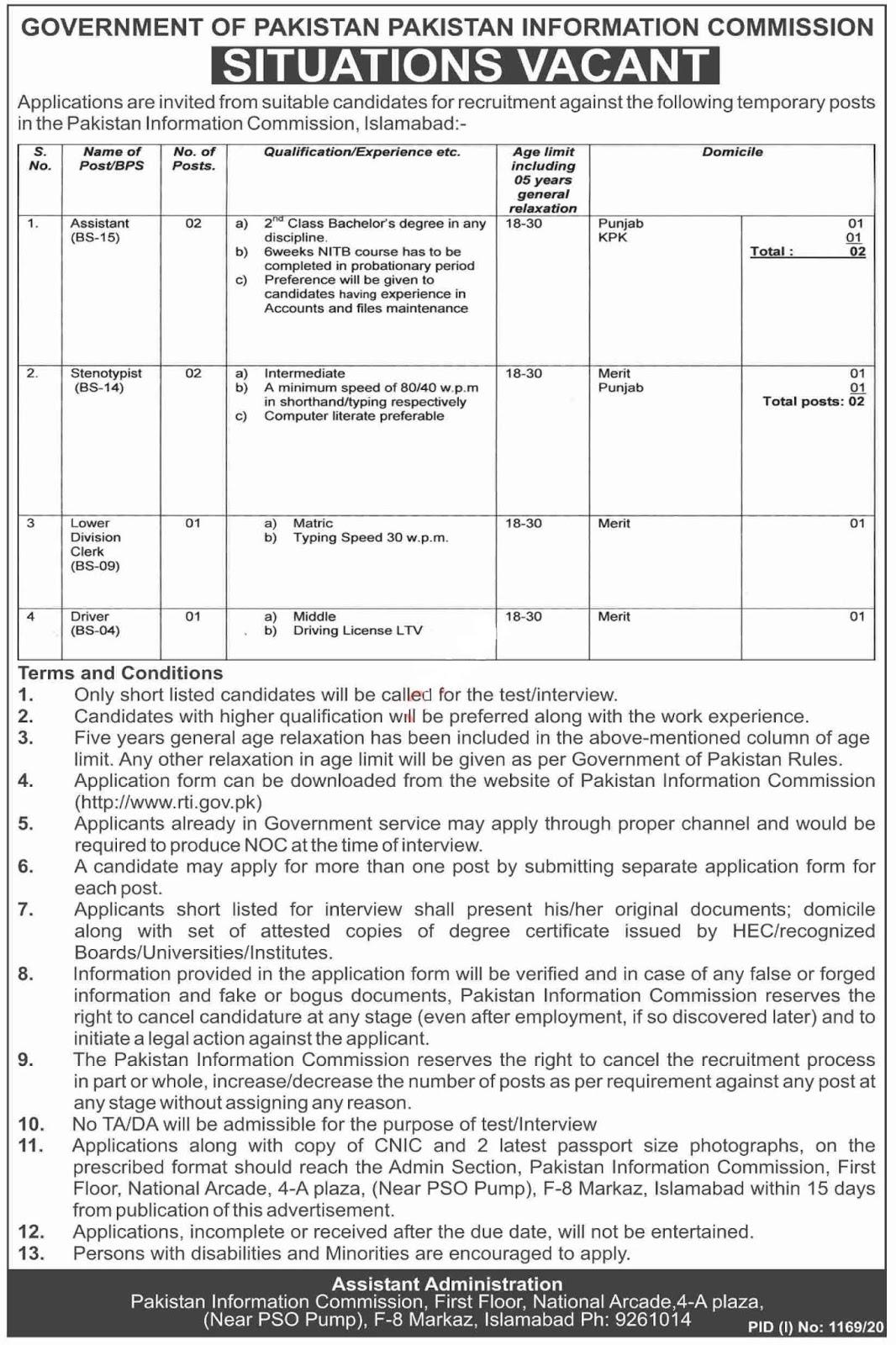 Pakistan Information Commission PIC RTI Jobs 2020