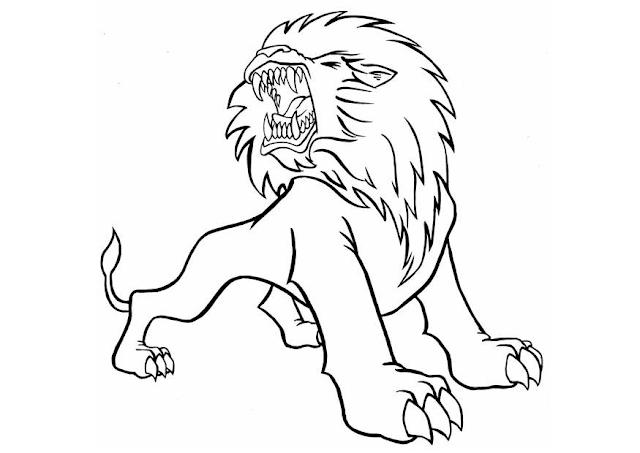 Gambar Mewarnai Singa Untuk Anak - 3