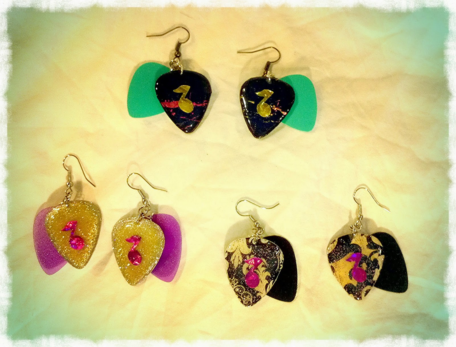 Music Note Guitar Pick Earrings