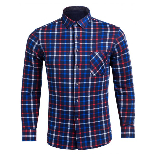 Flocking Turndown Collar Color BlockPlaid Pattern Pocket Shirt - Blue M