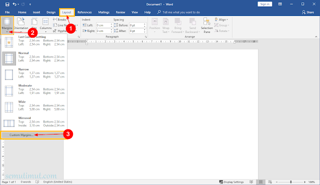 cara mengatur margin di word menjadi cm