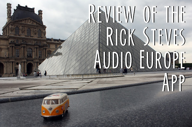 Title card showing the yellow van in front of the Louvre and the text, Review of the Rick Steves Audio Europe App