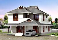 Önüne bir otomobil park edilmiş olan bahçeli müstakil ev yada villa modeli