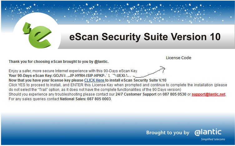 escan antivirus product key free