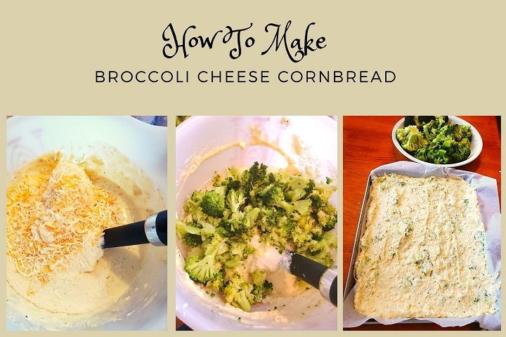 this is a collage of how to make broccoli cheese cornbread with 3 photo of the preparations