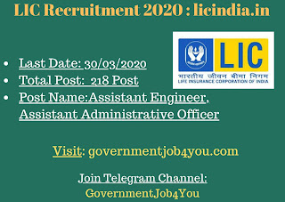 LIC Recruitment 2020 : licindia.in,lic recruitment 2020 apply online