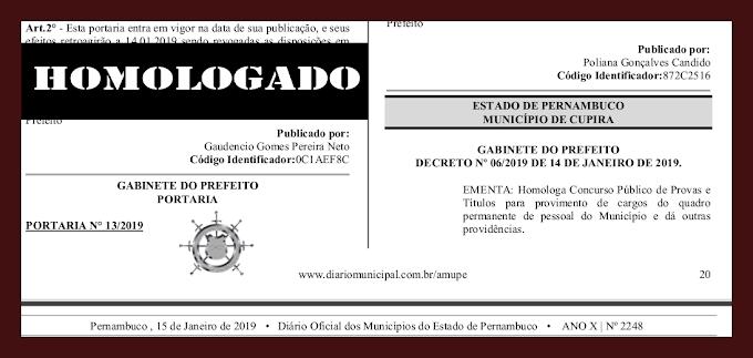 HOMOLOGADO CONCURSO PÚBLICO DE CUPIRA