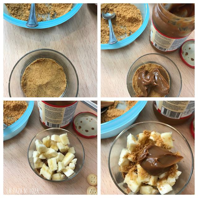 pasos del vasito de plátano y galletas con dulce de leche