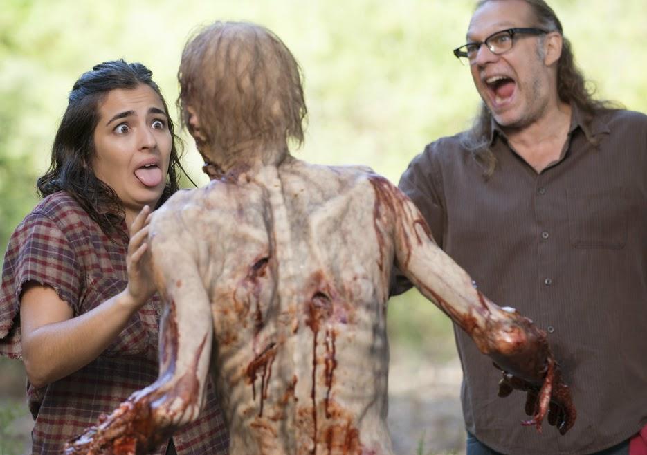 The Walking Dead 5x12: Alanna Masterson (Tara Chambler) e Greg Nicotero