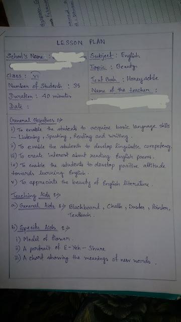 B.Ed Lesson Plan on English Poem ' Beauty ' Class 6