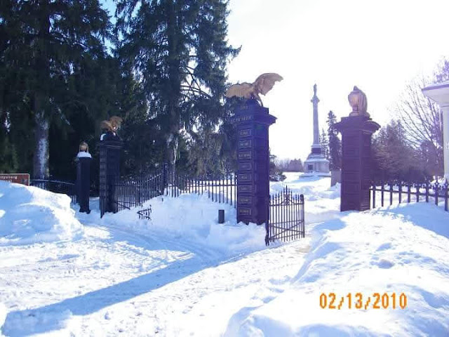 snow covered Evergreen cemetery
