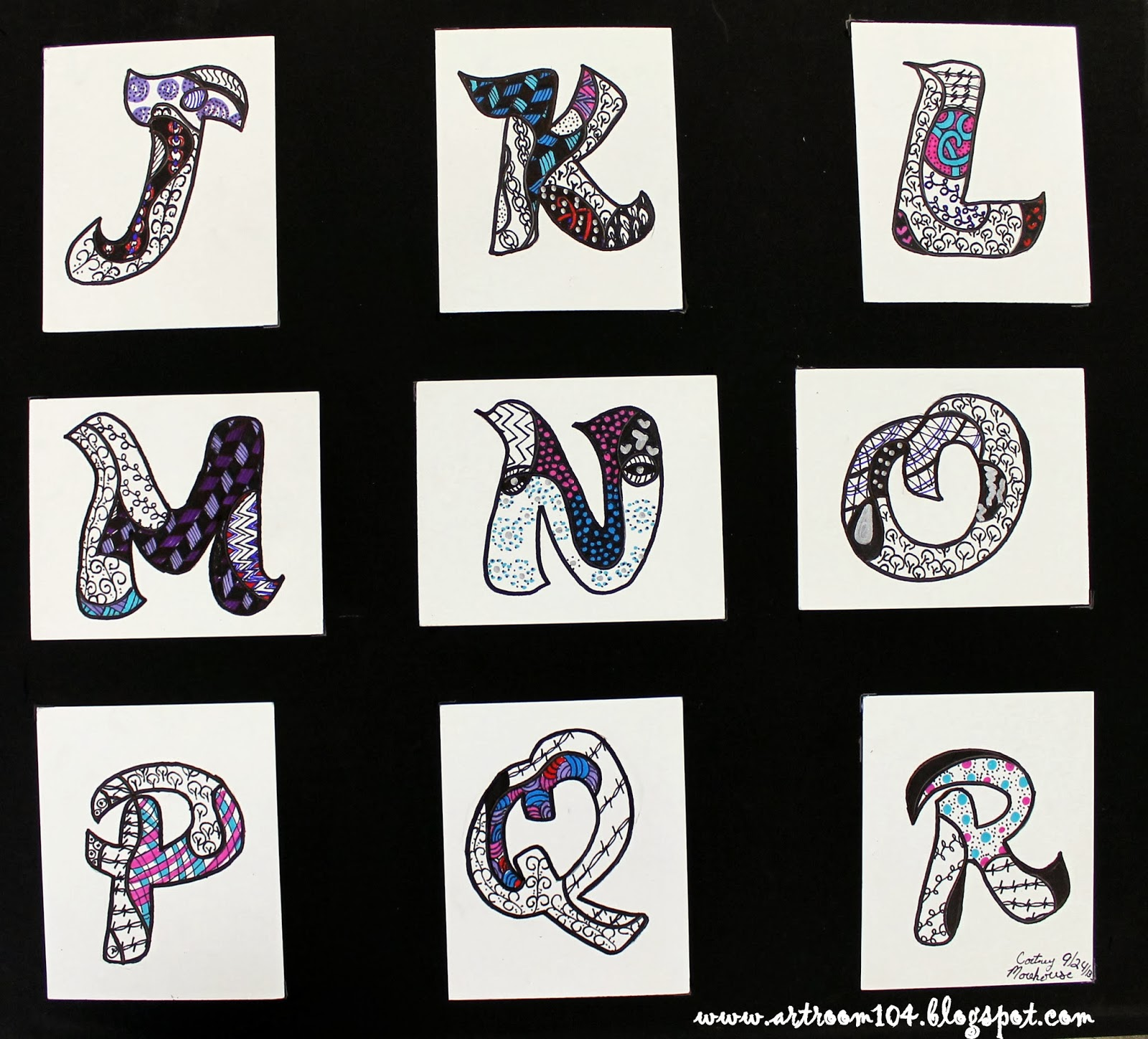 Art Room 104 Art Elective Completed Zentangle Alphabets