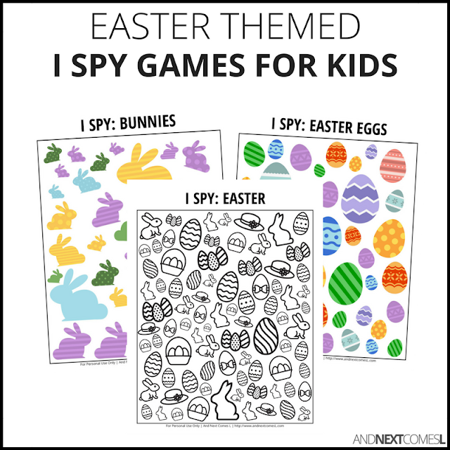 Easter themed I spy games for kids from And Next Comes L