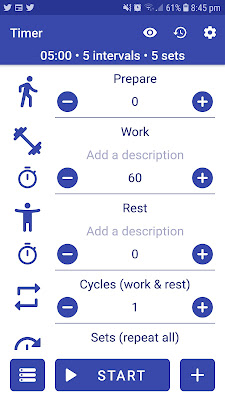 A screenshot of a timer app with work and rest intervals