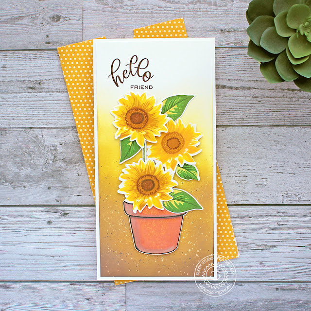 Sunny Studio Stamps: Potted Rose Sunflower Fields Friendship Card by Vanessa Menhorn