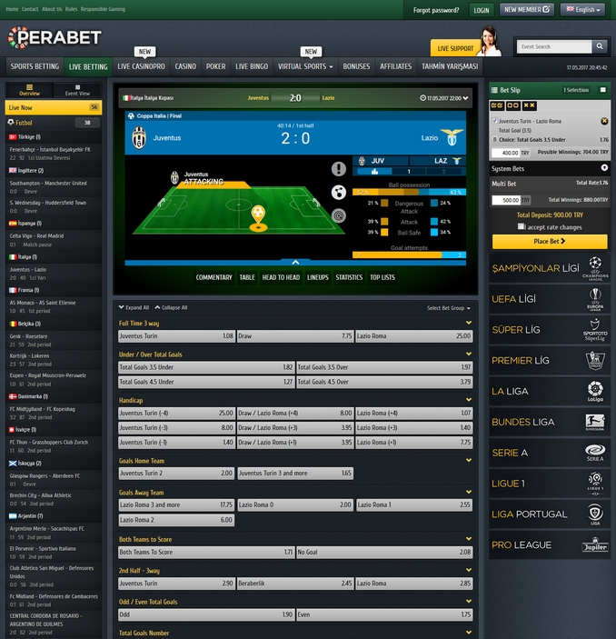 Perabet Live Betting Screen