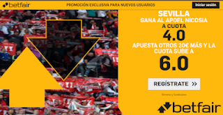 betfair supercuota Europa League Sevilla gana Apoel 3-10-2019