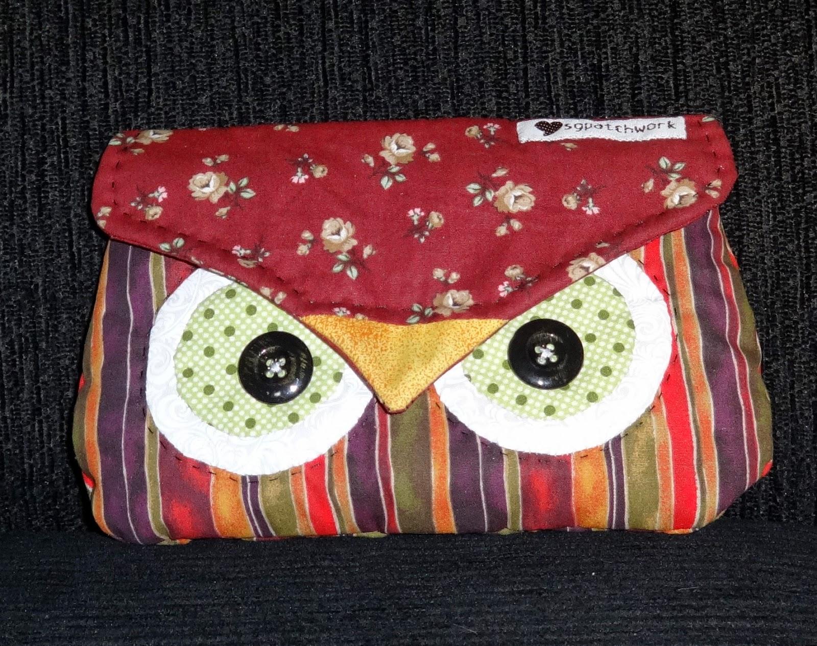90ee3248a SG patchwork: Necessaire coruja e um gato em tecido