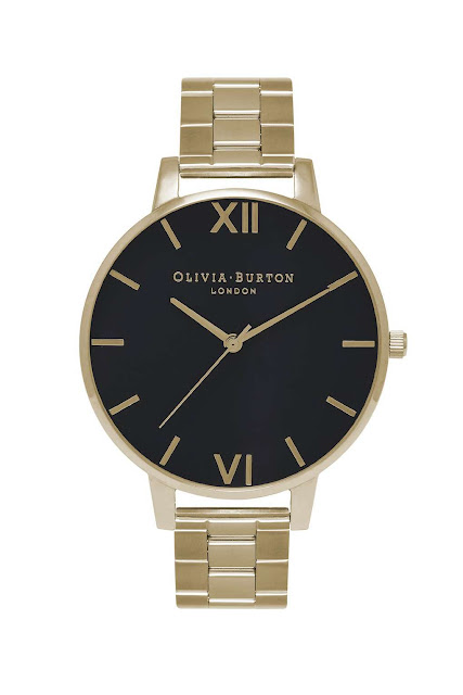 black face gold bracelet watch, gold black olivia burton watch, olivia burton topshop watch,