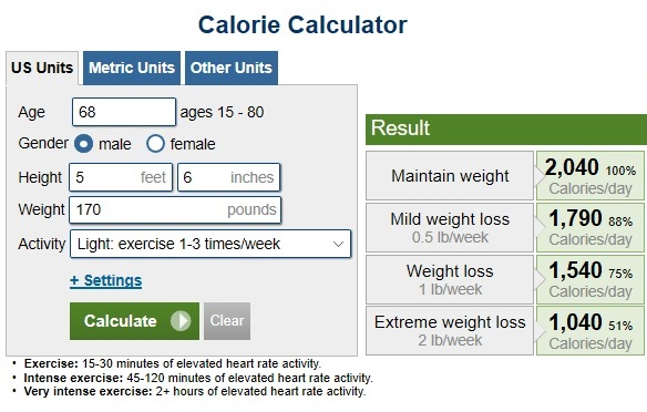 https://www.calculator.net/calorie-calculator.html?ctype=standard&cage=68&csex=m&cheightfeet=5&cheightinch=6&cpound=170&cheightmeter=150&ckg=150&cactivity=1.375&cmop=0&coutunit=c&cformula=m&cfatpct=20&printit=0