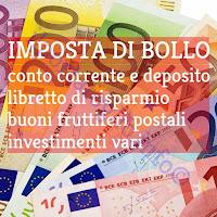 imposta di bollo conto corrente, deposito titoli, libretti, investimenti