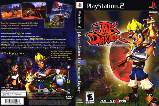 Descargar Jak and Daxter - Precursor Legacy ps2 iso NTSC-PAL. (Jak and Daxter: El Legado de los Precursores) es un videojuego de plataformas desarrollado por Naughty Dog y publicado por Sony Computer Entertainment América y es el primer videojuego en la serie Jak and Daxter. Fue puesto en venta exclusivamente para la PlayStation 2 de Sony de 4 de diciembre de 2001, para América y para Europa y el Japón en el mismo mes. Jak and Daxter: El Legado Precursor ha generado dos secuelas, Jak II y Jak 3, dos subsidiarias, y Daxter y Jak X . Se considera el sucesor espiritual de la propia Naughty Dog desarrollador de la serie para PlayStation, Crash Bandicoot.