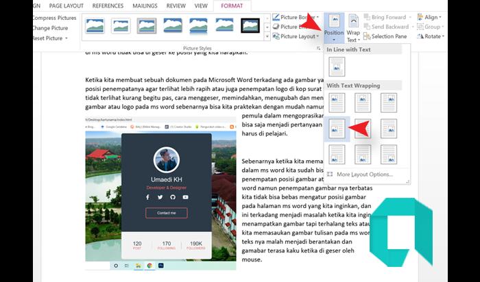 Cara Mengatur Poisi Gambar Disamping Teks MS Word Paling Mudah