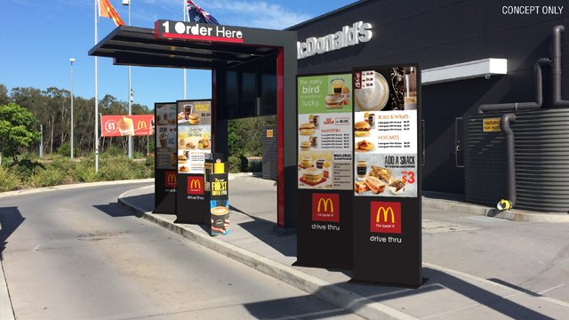 quick service restaurant, drive trough, digital signage, kioskos