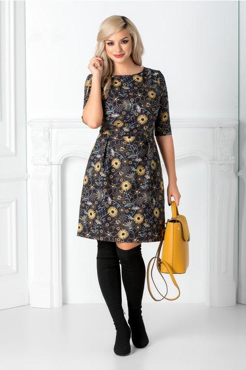 Rochie de birou moderna ieftina bleumarin cu flori galbene