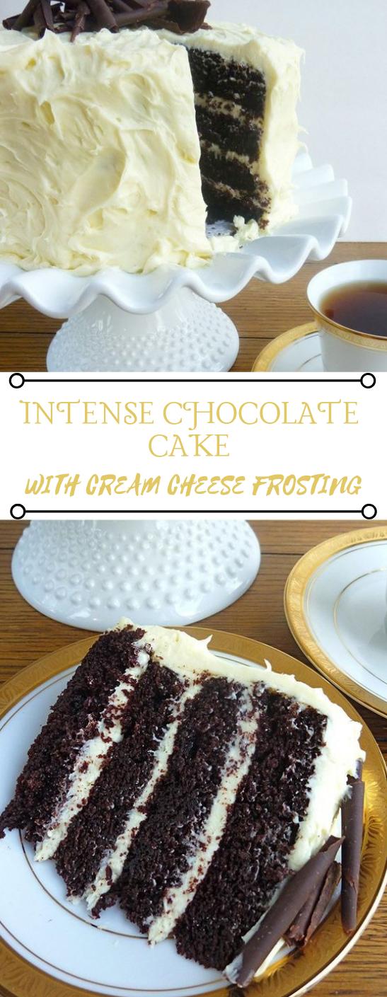 INTENSE CHOCOLATE CAKE WITH CREAM CHEESE FROSTING #dessert #chocolate #cake #pie #brownies