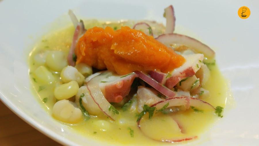 Ceviche de corvina, pulpo con batata y choclo (9€ media ración) Treze restaurante y bar Madrid