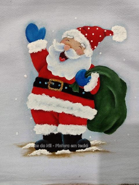 pintura em tecido papai Noel com saco de presentes