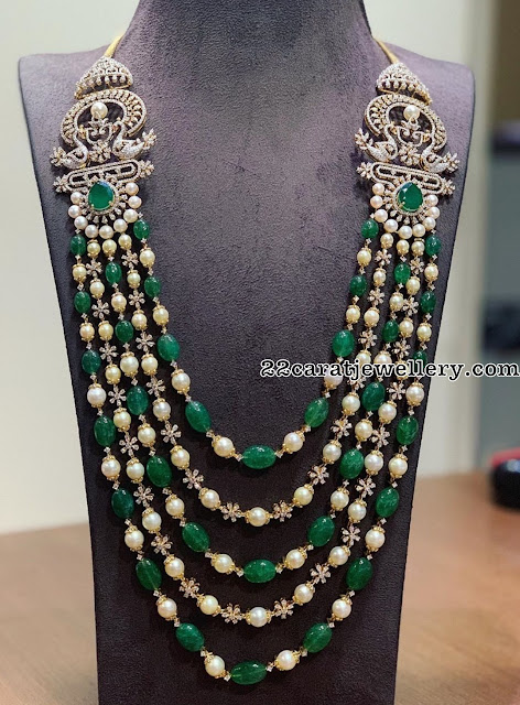 Emerald Pearls Haram with Diamond Clasps